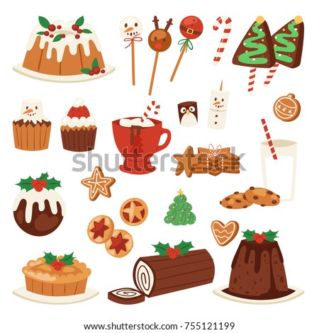 Christmas food vector desserts holiday decoration xmas family diner sweet celebration meal illustration. Traditional food festive winter cake homemade x-mas party.