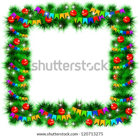 Christmas frame decorated with toys and flags. Vector illustration. Isolated on white background. Transparency and gradient mesh not used