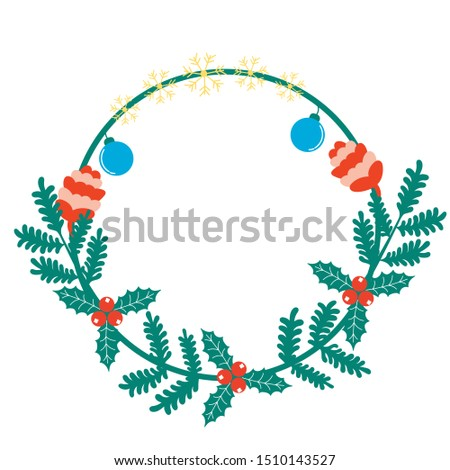 Christmas frame from coniferous branches of snowflakes cones of Christmas toys Holly Holly. Editable vector illustration