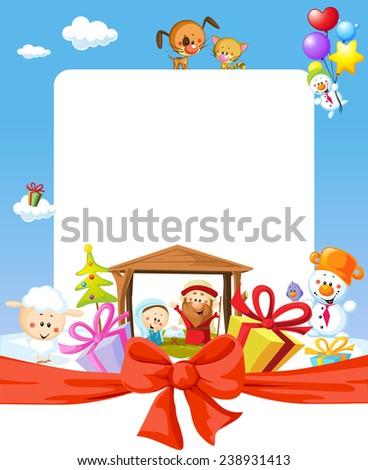 christmas frame   nativity with