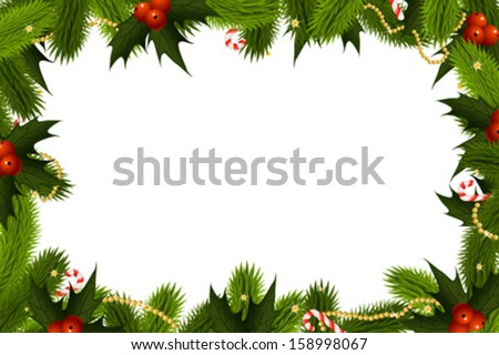 Christmas Frame Template with fir mistletoe and decoration