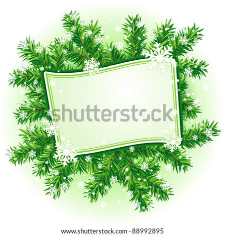 Christmas frame with branches of fir-tree and snowflakes (eps10) - stock vector