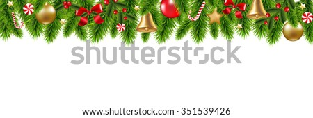 Christmas Frame With Gradient Mesh, Vector Illustration #351539426