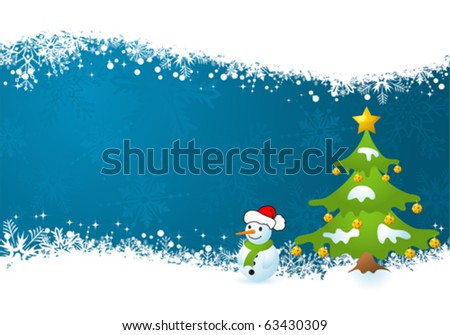 Christmas Frame with tree and snowman, element for design, vector illustration