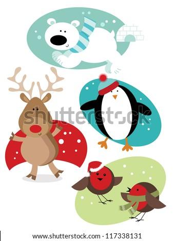 christmas fun animals four