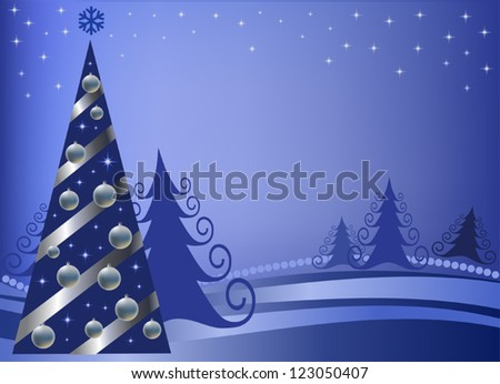Christmas fur-tree with silver spheres and a tape on a blue background with stars