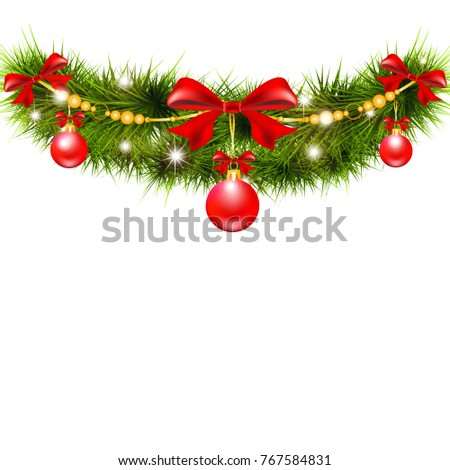 Christmas garland, balls,red bows, on a white #767584831