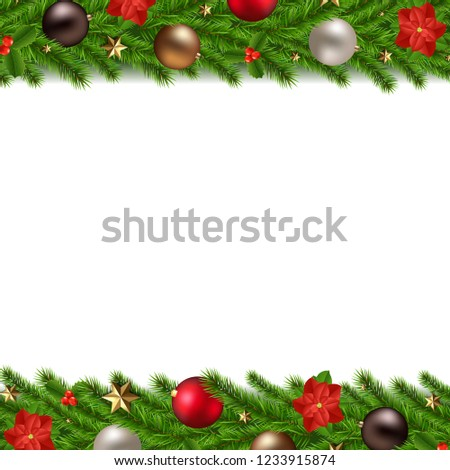 Christmas Garland Isolated White Background With Gradient Mesh, Vector Illustration #1233915874
