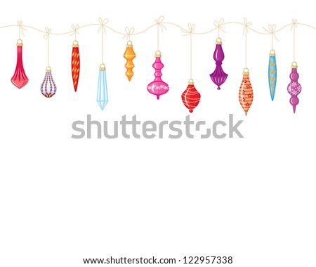 Christmas garland of colorful toys hanging on a string