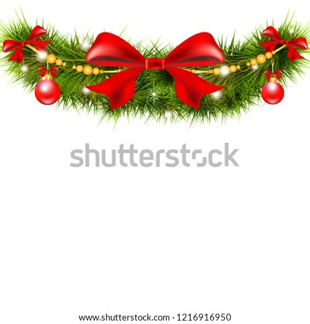 Christmas garland with poinsettia and cotton flowers, isolated on a white #1216916950