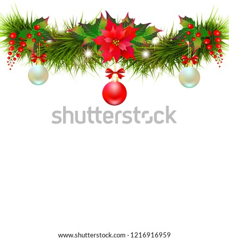 Christmas garland with poinsettia and cotton flowers, isolated on a white #1216916959