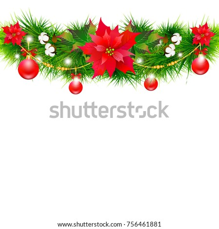 Christmas garland with poinsettia and cotton ,isolated on a white #756461881