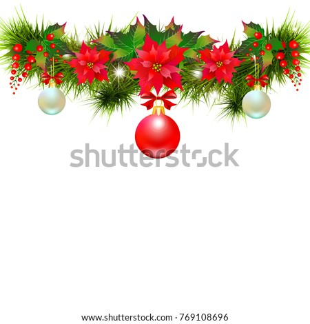 Christmas garland with poinsettia and red ball ,isolated on a white #769108696