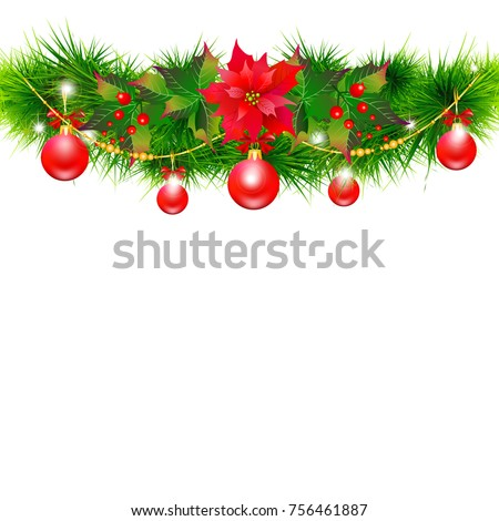 Christmas garland with poinsettia and red  balls ,isolated on a white #756461887