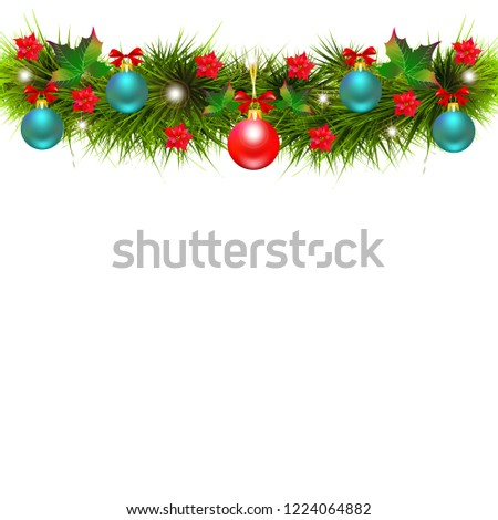 Christmas garland with poinsettia and red ribbons ,isolated on a white #1224064882