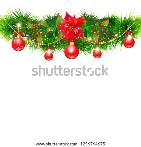 Christmas garland with poinsettia and red ribbons ,isolated on a white #1256764675