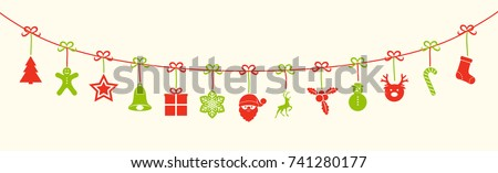 Shutterstock Christmas garland with red and green decorations. Vector.