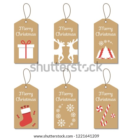 Christmas gift and price tag set with hanger and cardboard background. Enviromentally friendly gift and price tags with holiday icons and symbols.