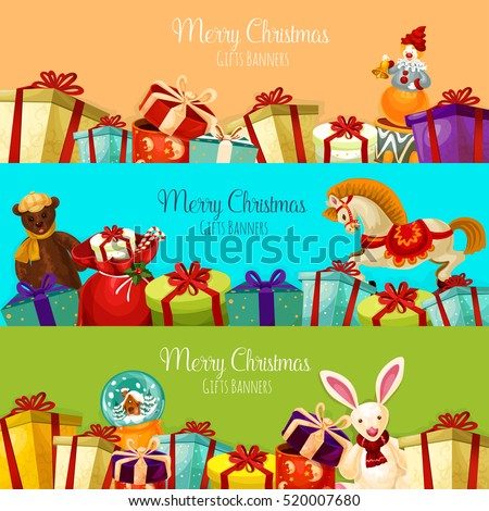 Shutterstock Christmas gift and toy banner set. Present boxes with bow and ribbon, santa bag with candy cane, plush bear and rabbit, snow globe, rocking horse and clown with bell. Xmas and New Year theme design