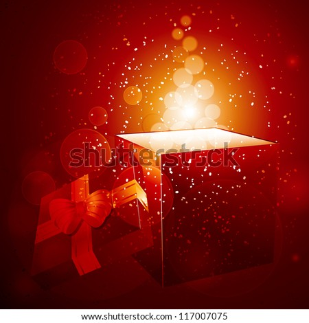 Christmas gift background with open gift box and glows