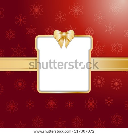Christmas gift background with present cut out, ribbon and bow