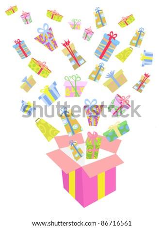 christmas gift box explosion