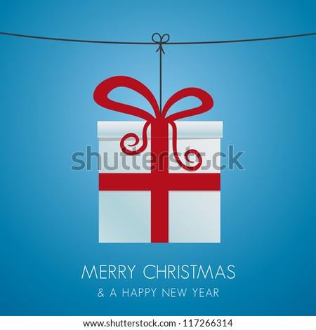 christmas gift box hanging on a twine