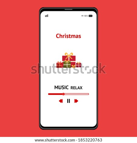 Christmas gift box relax. Merry Christmas relaxing music. Relaxing music background. Relaxing music on smartphone. Music screen template.