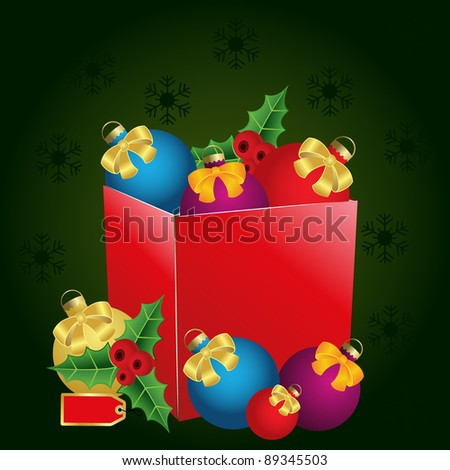 christmas gift box with price tag, bows and balls - stock vector