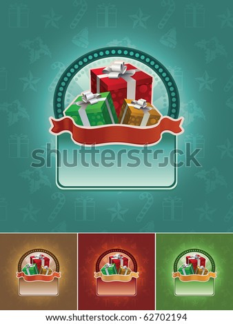 Christmas gift boxes banner set. All elements are layered separately in vector file. Easy editable CMYK color mode.