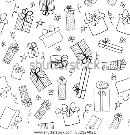 Christmas gift boxes. Hand drawn presents sketch. Seamless vector pattern. May be used as a coloring book