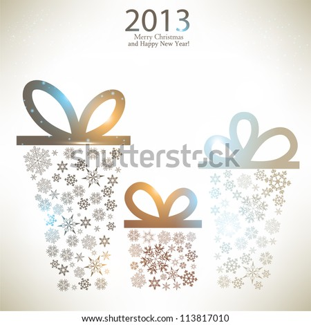 Christmas gift boxes made from snowflakes. Christmas background