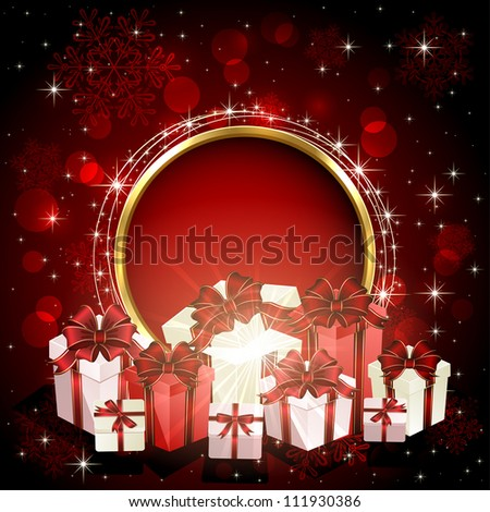 Christmas gift boxes on red background with stars and snowflakes, illustration.