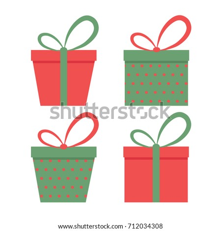 Christmas gift boxes set.Vector art.Perfect design for cards, wallpaper, posters, banners, invitations.Xmas design.