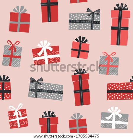Christmas gift boxes vector pattern in retro style. Seamless background with gift boxes with bows. Illustration for greeting cards, invitations, posters.  Stockfoto ©