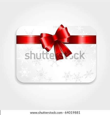 Christmas gift card with red ribbon