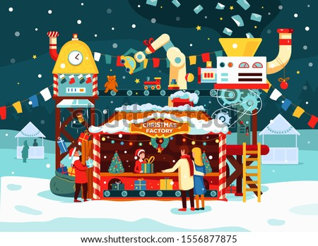 Christmas gift factory with toys, presents on conveyor. Letters to Santa Claus turn into gifts. Festive snowy evening, couple buys new year gifts, vector illustration in flat style. Winter holidays.