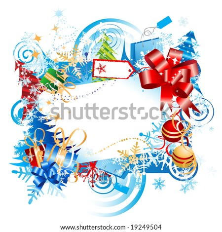 Christmas gift, frame with place for your text - stock vector