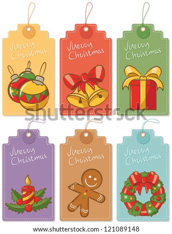 Christmas gift labels isolated on white backgrounds