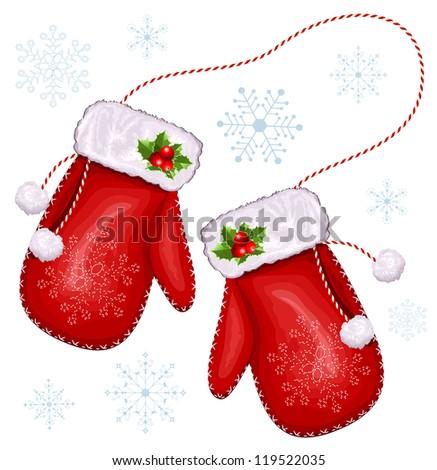 Christmas gift mittens. vector illustration