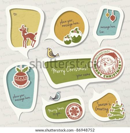 Christmas gift tag - stock vector