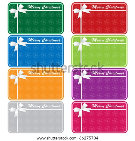 Christmas gift tags in 8 assorted colors with bows and snowflakes. Copy space for text. Isolated on white. Raster also available.