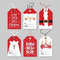Christmas gift tags set with handwritten calligraphy and decorative elements.