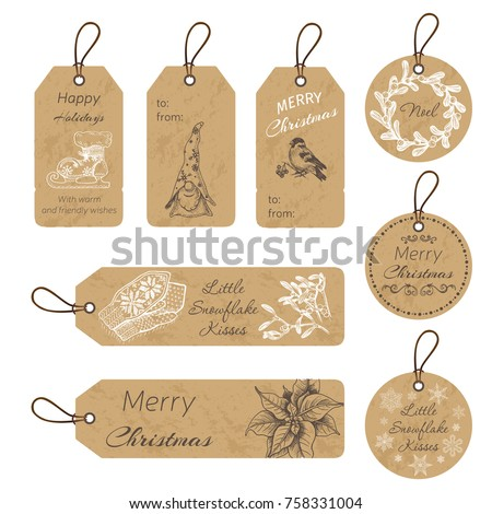 christmas gift tags with hand