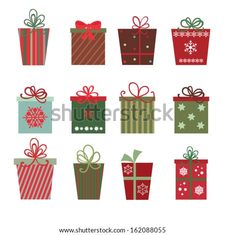 Christmas gifts A site of twelve Christmas gifts on white background