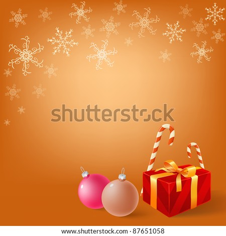 Christmas gifts box and balls on snowy background. Vector illustration.