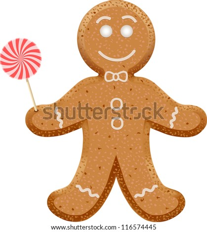 Christmas Gingerbread Man with lollipop in hand