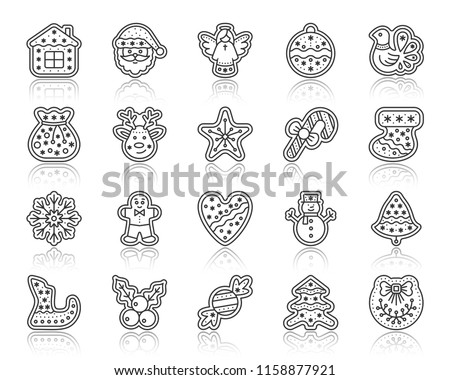 Christmas gingerbread thin line icon set. Outline sign kit of xmas cookie. Sweet food linear icons ginger biscuit party bell, deer. Simple cute black contour symbol with reflection vector Illustration