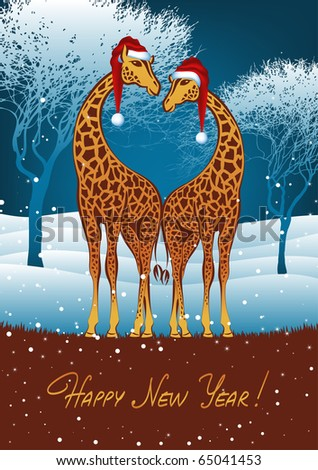 Christmas giraffes card, vector eps8