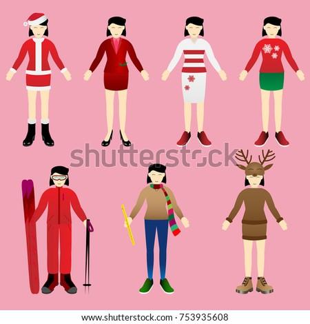 christmas girl in various